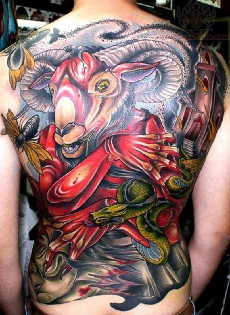 Incredible massive multicolored whole back tattoo of demonic goat with snakes and insects