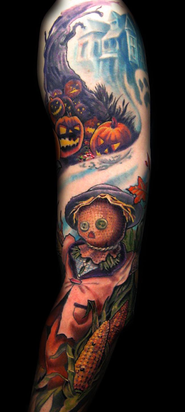 Incredible Sleeve Tattoo: Incredible Multicolored Halloween Themed Tattoo On Sleeve