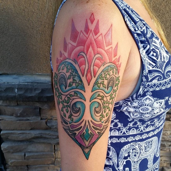 Incredible multicolored tree shaped tattoo on shoulder area