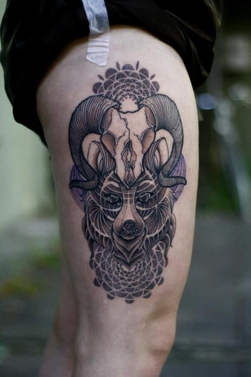 Incredible multicolored wolf face tattoo on thigh combined with animal skull and tribal ornaments