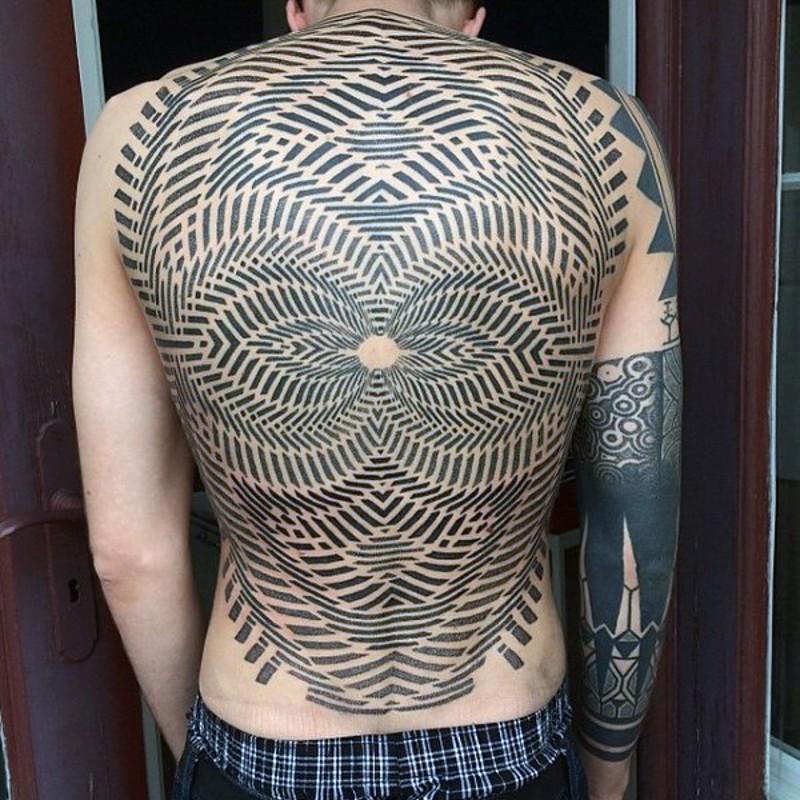 incredibile dipinto colorato ornamento ipnotico tatuaggio pieno di schiena