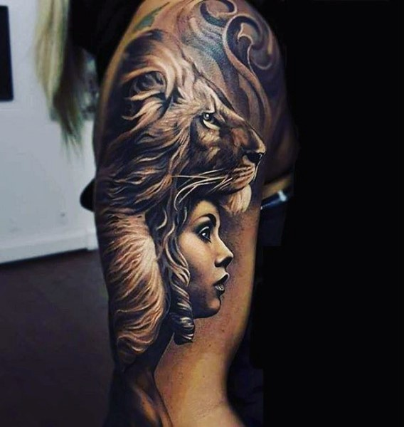 Incredible Painted Detailed Lion With Woman Tattoo On Arm