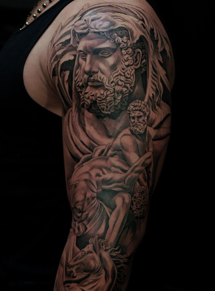 Incredible very detailed black and white ancient God statues tattoo on sleeve with horse