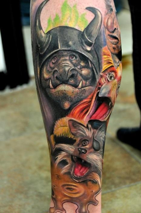 Incredible very detailed colorful cartoon heroes on leg muscle