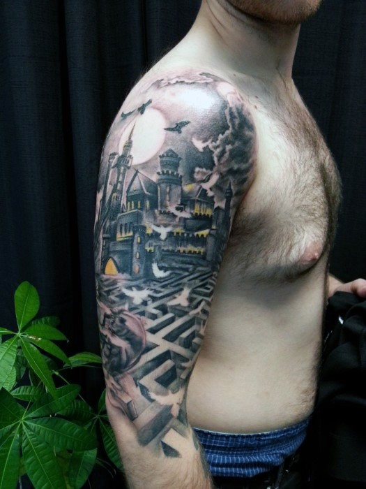 Industrial style colored old mystic castle with labyrinth half sleeve tattoo