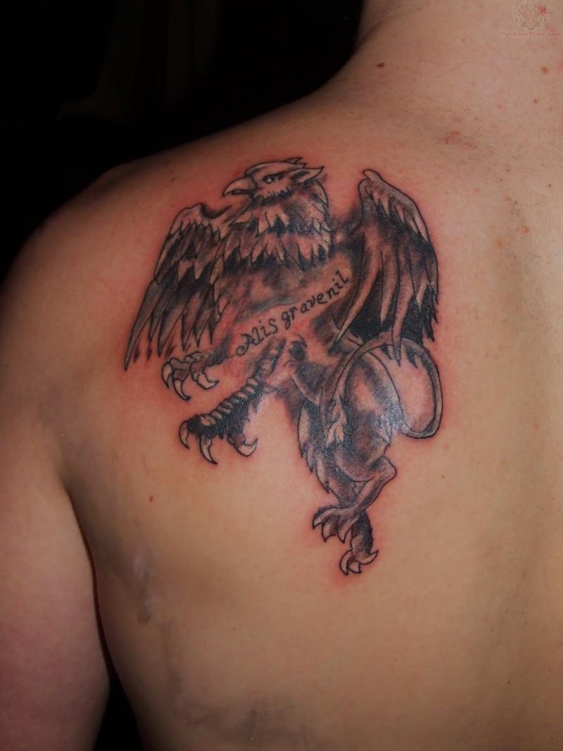 inchiostro griggio grifone tatuaggio su spalla