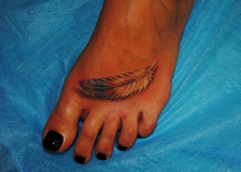 Ink painted foot tattoo for girls