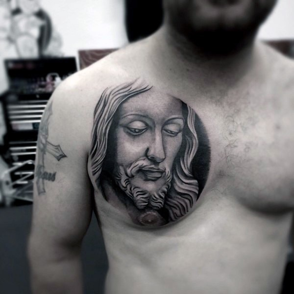 Inspiring religious Jesus Christ portrait circle shaped tattoo on chest