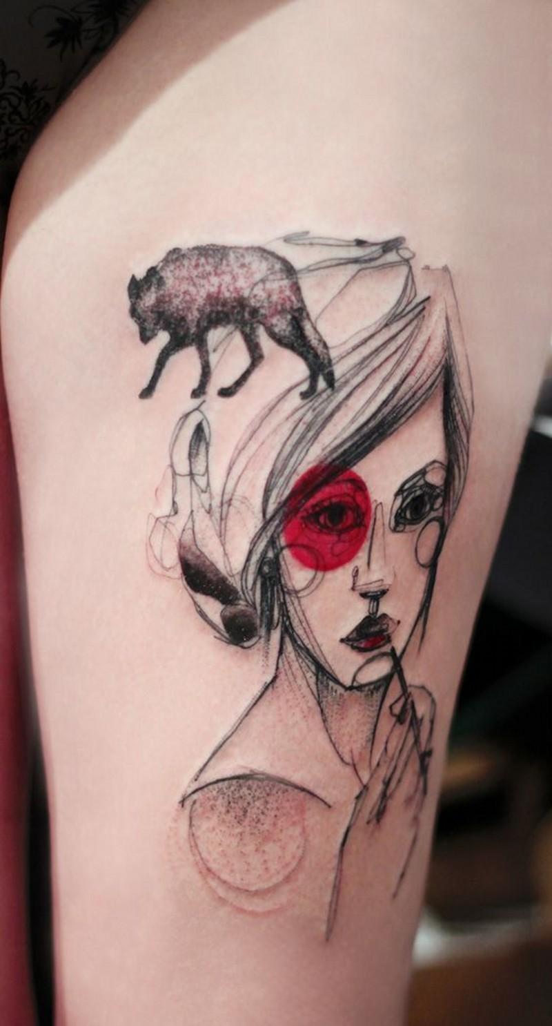 interessante stile Asiatico  dipinto astratto donna con volpe tatuaggio su coscia