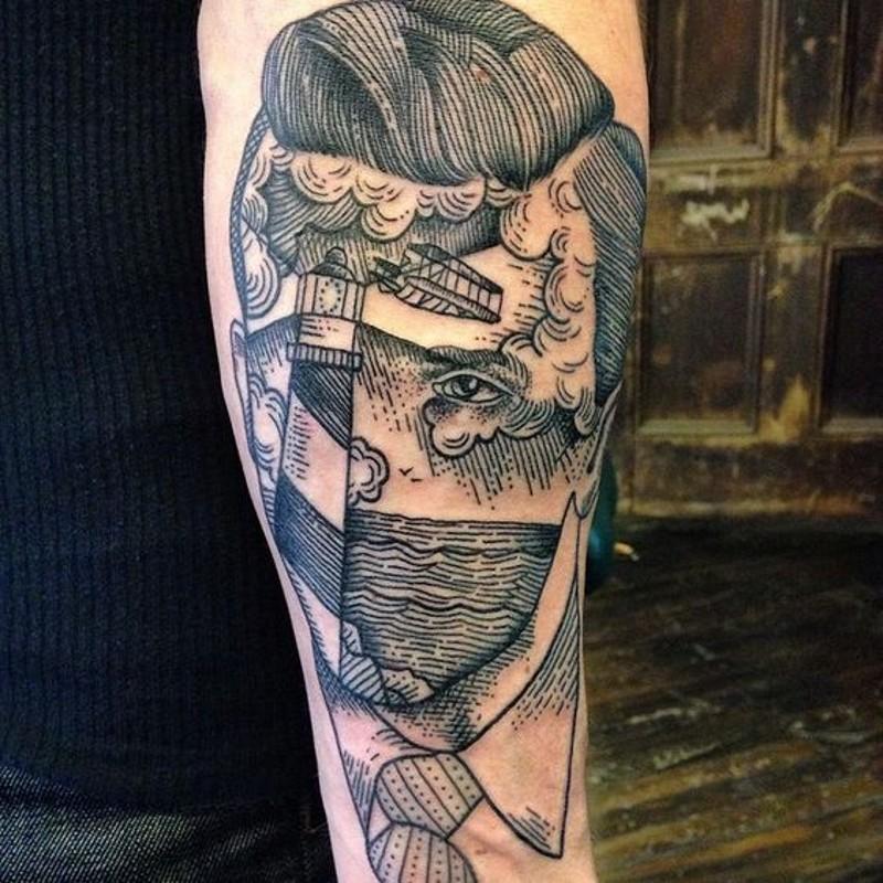 interessante inchiostro nero ritratto senza volto tatuaggio su braccio