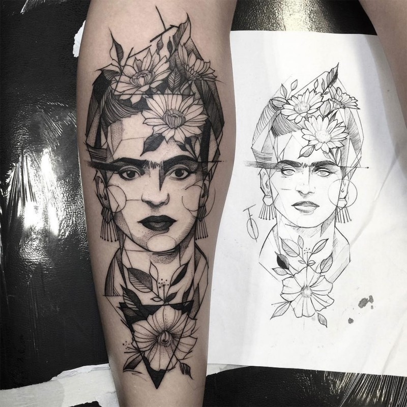 Interesting black ink mystical woman portrait tattoo on forearm combined with various flowers