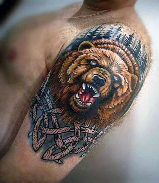 Interesting colored big roaring bear head tattoo on shoulder