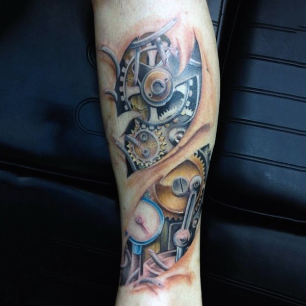 Interesting colored under skin mechanism tattoo on forearm for Skin gallery tattoo
