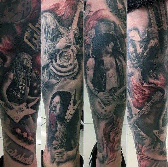 Interesting colored various famous musicians tattoo on leg