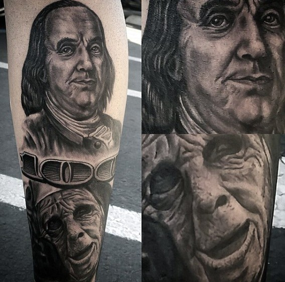 Interesting combined black and white American money bill portrait tattoo on leg with interesting monster face