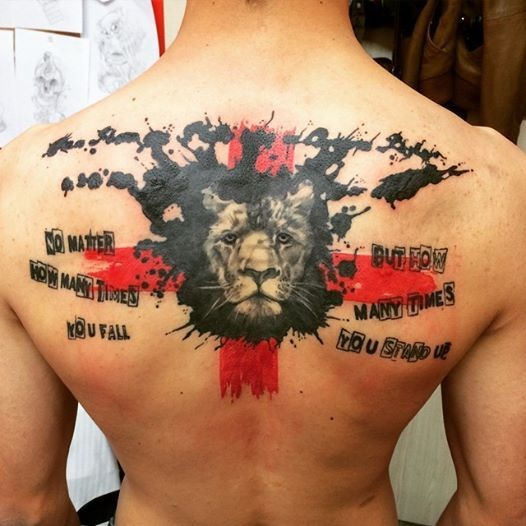 Interesting combined lion head tattoo with red cross and lettering