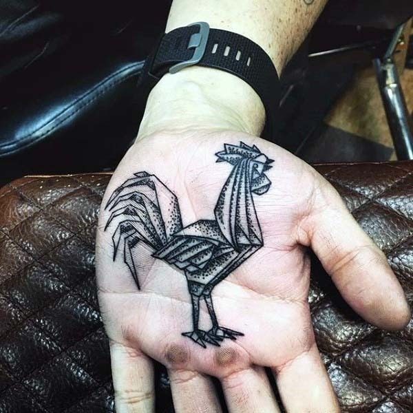 Interesting Design Black And White Sharp Peacock Tattoo On Hand Palm