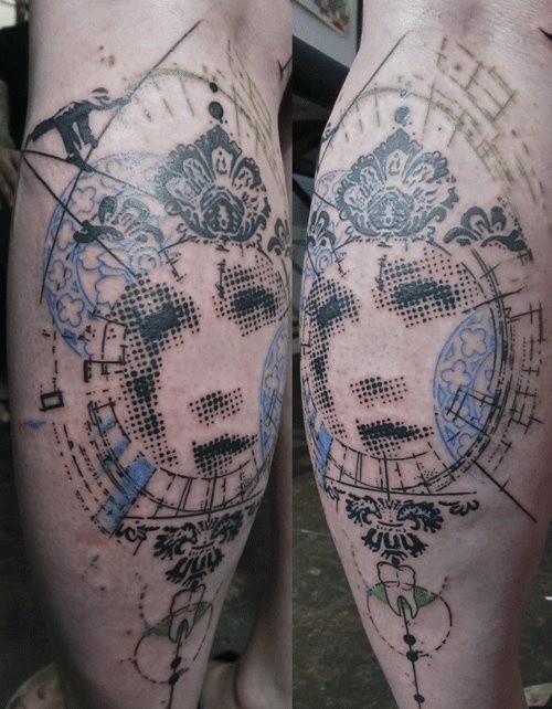 Interesting designed abstract style colored leg tattoo of woman portrait with various symbols