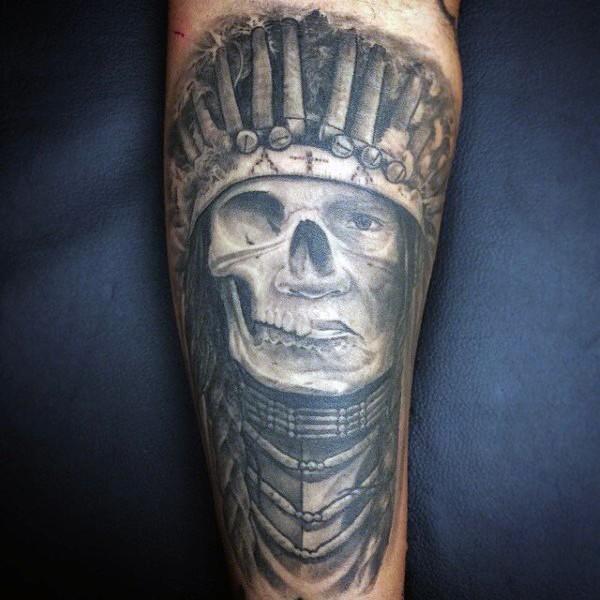 Interesting designed black ink 3D mystical Indian portrait tattoo