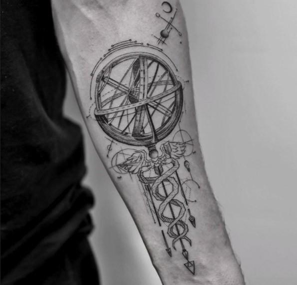 Interesting designed black ink forearm tattoo of scientific mechanism