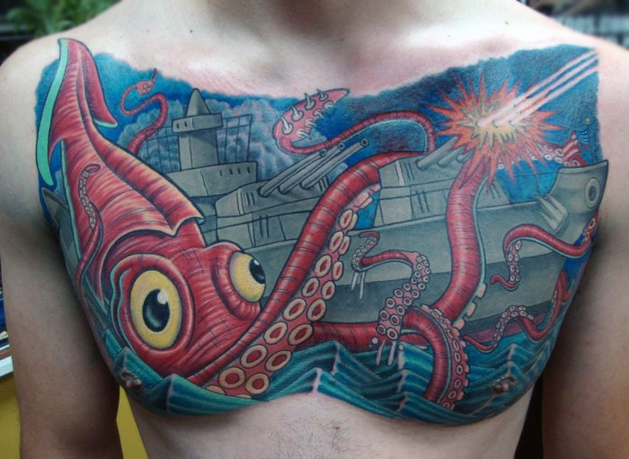 Interesting designed cartoon like squid attacking military ship tattoo on chest