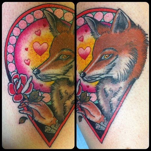 Interesting designed romantic style colored fox with hearts and flower tattoo on shoulder