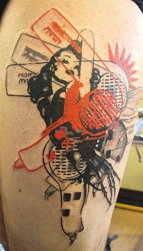 Interesting fashion themed colored woman with hair dryers tattoo on thigh
