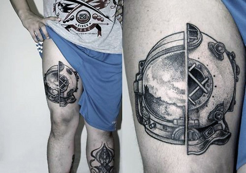 Interesting half astronaut half old divers helmets tattoo ... Realistic Elephant Drawing