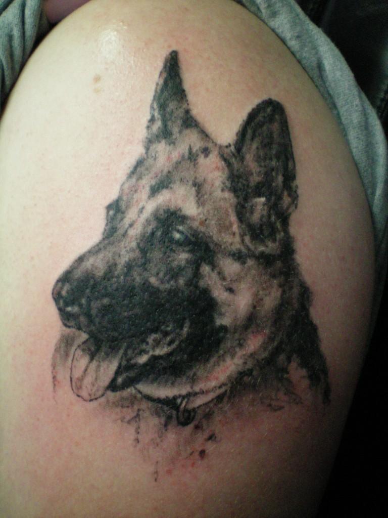 interesting ink black german shepherd design