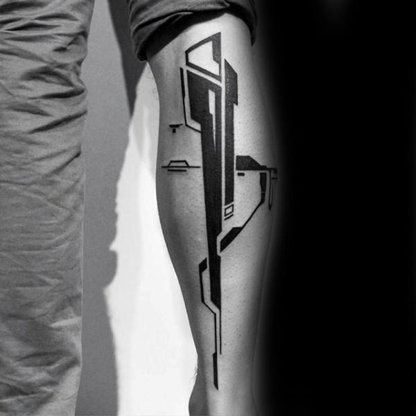 Interesting looking black ink tattoo on leg