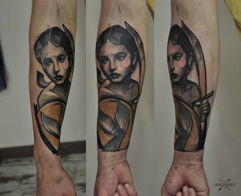 Interesting looking colored arm tattoo of ancient woman warrior