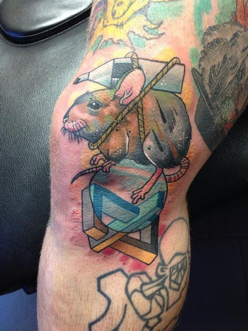 Interesting looking colored leg tattoo of funny mouse with roped bottle