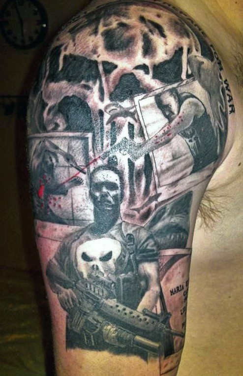 Interesting neo traditional style shoulder tattoo of thug with modern weapons