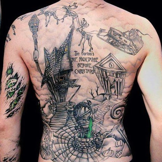 Interesting old school style colored old creepy house tattoo on whole back stylized with lettering