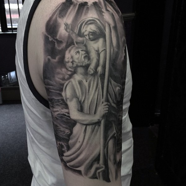 Interesting painted black and white old statue tattoo on half sleeve zone