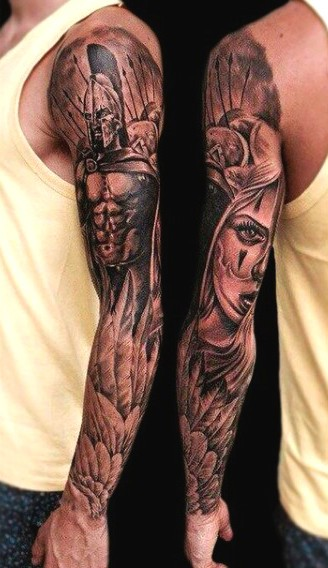 Interesting painted black ink Spartan warrior with rogue woman tattoo on sleeve