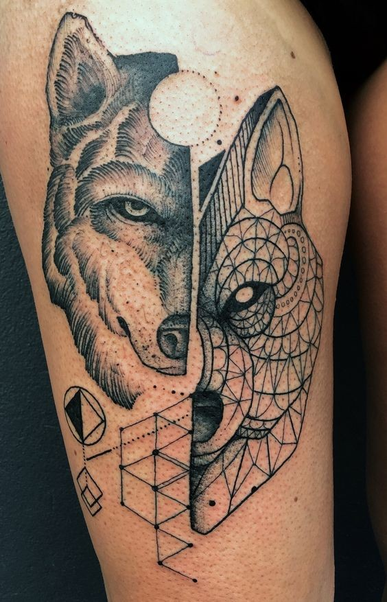 Interesting painted black ink thigh tattoo of various wolves portraits and geometrical figures