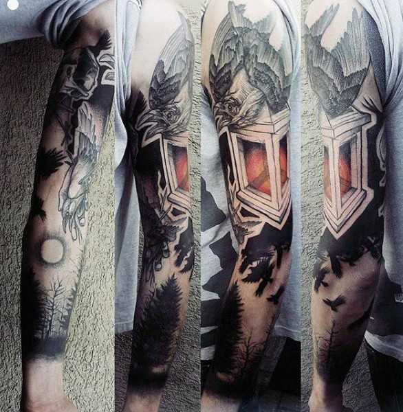 Interesting painted multicolored crow on street light and fores tattoo on sleeve