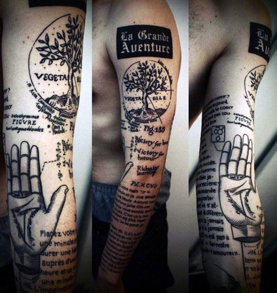 Interesting scientific black ink tattoo with lettering on sleeve