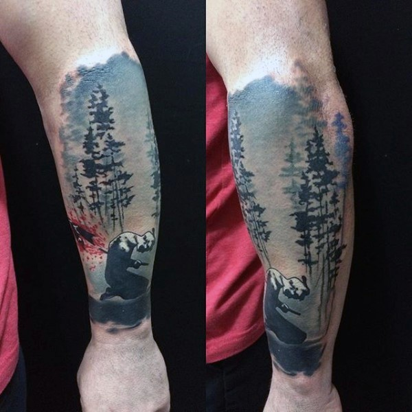 Interesting style colored bleeding Asian warrior in forest tattoo on forearm