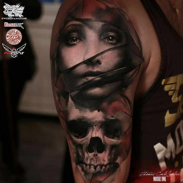 Interesting style colored shoulder tattoo of mystical woman with skull