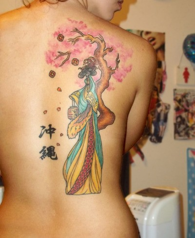 Intriguing back tattoo with symbols and colorful design
