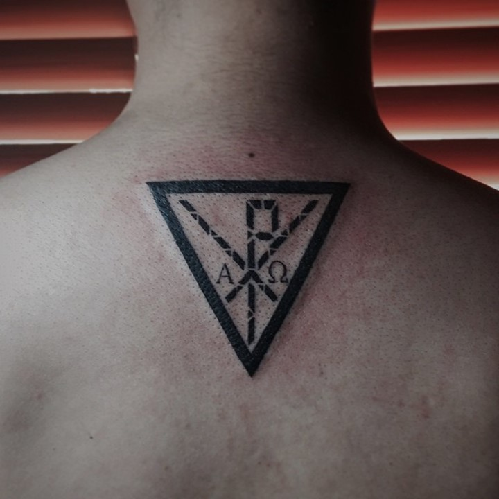 inverted triangle with monogram chi rho designed