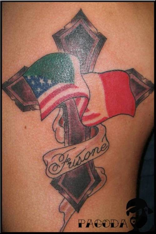 Italian flag with cross tattoo