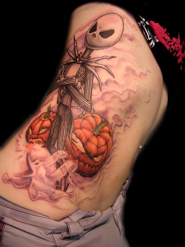 Jack Skellington cartoon hero and Halloween pumpkins side tattoo with violet haze