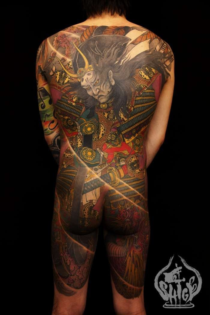 Japanese demon tattoo on whole back by Shige