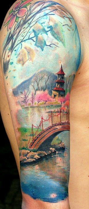 paesaggio giapponese tatuaggio avambraccio