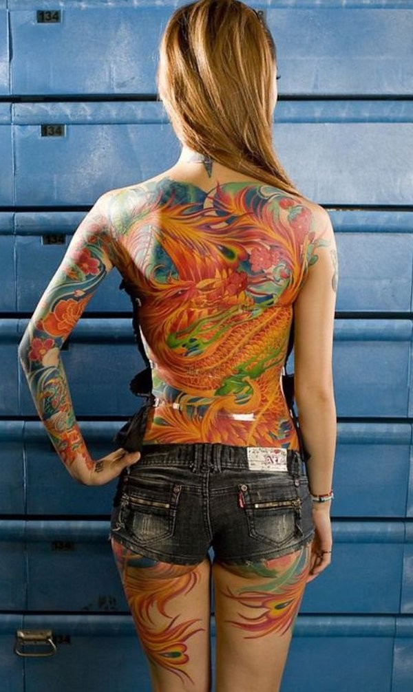 Japanese phoenix tattoo on back for women