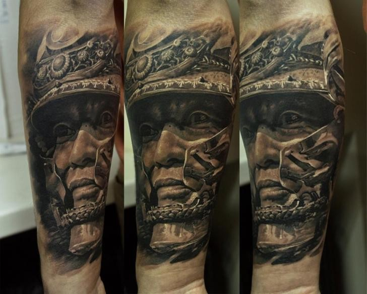 japanese style black ink forearm tattoo of samurai with helmet