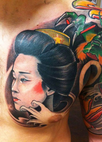 Japanese style colored chest tattoo of geisha portrait